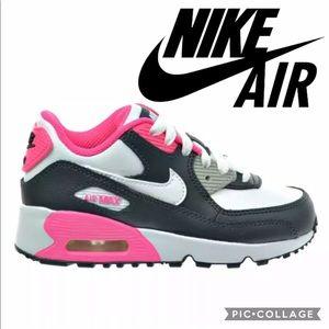 NIKE AIR MAX 90 LTR Kids Size 13 White/Pink/Black